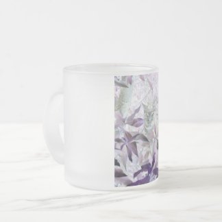 Cute Kitten in the bushes, purple abstract art Frosted Glass Coffee Mug