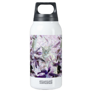 Cute Kitten in the bushes, purple abstract art Insulated Water Bottle