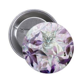 Cute Kitten in the bushes, purple abstract art Pinback Button