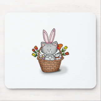 Cute kitten in the Easter Basket Mouse Pad