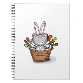 Cute kitten in the Easter Basket Note Book