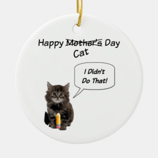 Cute Kitten Mother's Day Round Ornament