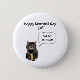 Cute Kitten Mother's Day Round Pin Button