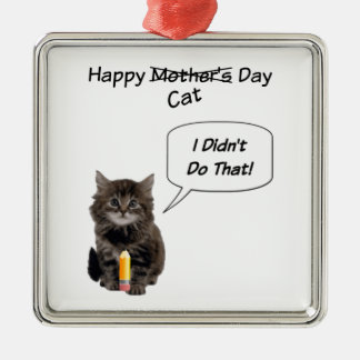 Cute Kitten Mother's Day Square Ornament