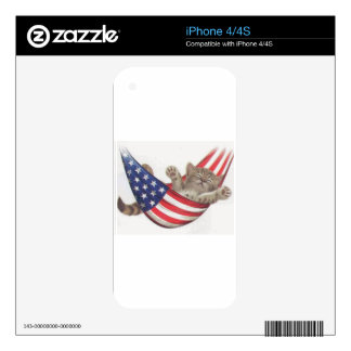 Cute Kitten Naps in USA Flag iPhone 4S Decal
