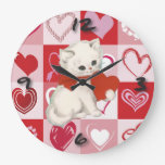 Cute Kitten on Red and pink love hearts pattern Wallclock