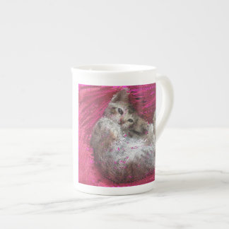 Cute Kitten Pink China Mug - Tickle My Tum