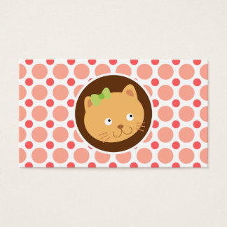Cute Kitten; Pink & Coral Polka Dots Business Card
