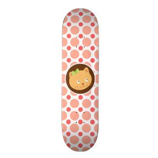 Cute Kitten Pink Coral Polka Dots Custom Skate Board
