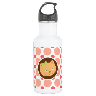 Cute Kitten; Pink & Coral Polka Dots Water Bottle