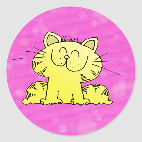 Cute Kitten Pink Room Classic Round Sticker
