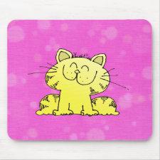Cute Kitten Pink Room Mouse Mats