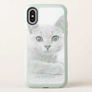 CUTE Kitten Portrait in Black and White OtterBox Symmetry iPhone X Case