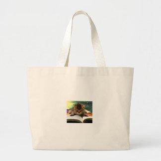 Cute Kitten Reading a Book Canvas Bags