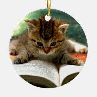 Cute Kitten Reading a Book Ceramic Ornament