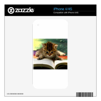 Cute Kitten Reading a Book iPhone 4S Skins