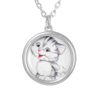 Cute kitten silver plated necklace