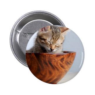 Cute Kitten sleeping in bowl 2 Inch Round Button