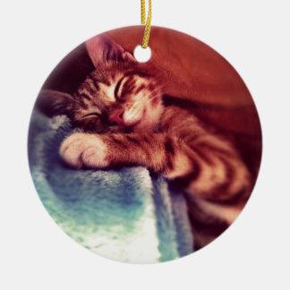 Cute kitten sleeping christmas ornaments