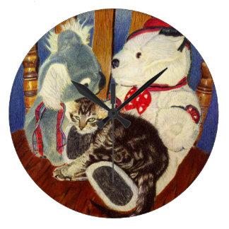 Cute Kitten & Stuffed Animals Wall Clock