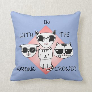 Cute Kitten Surrounded by Tough Looking Cats Throw Pillow