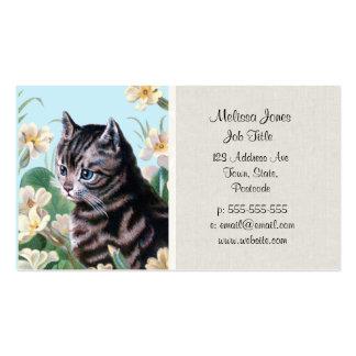 Cute kitten - vintage cat art business cards