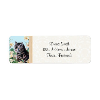 Cute kitten - vintage cat art label