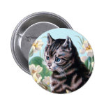 Cute kitten - vintage cat art pinback button