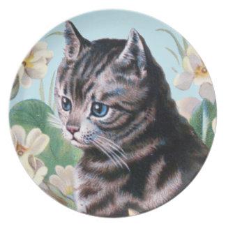 Cute kitten - vintage cat art dinner plates