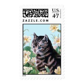 Cute kitten - vintage cat art stamp