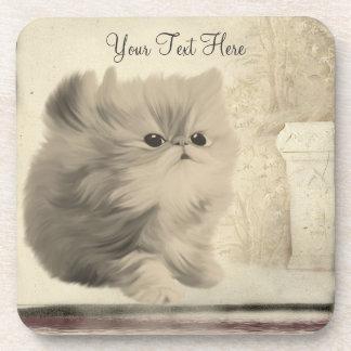 Cute Kitten Vintage Look Animal Coaster Set