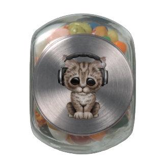 Cute Kitten Wearing Headphones Jelly Belly Candy Jars