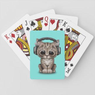 Cute Kitten Wearing Headphones Playing Cards