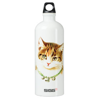 Cute kitten with bells on necklace - for cat lover aluminum water bottle