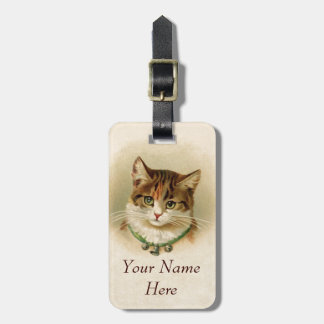 Cute kitten with bells on necklace - for cat lover bag tag