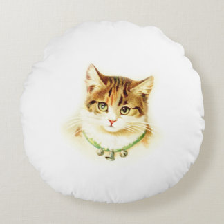 Cute kitten with bells on necklace - for cat lover round pillow