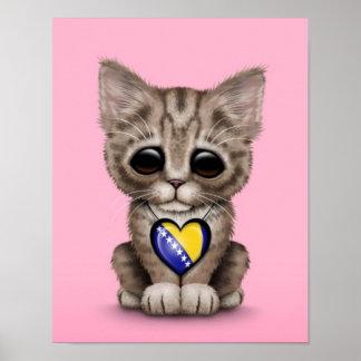 Cute Kitten with Bosnia-Herzegovina Heart, pink Poster
