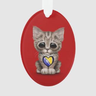 Cute Kitten with Bosnia-Herzegovina Heart, red Ornament