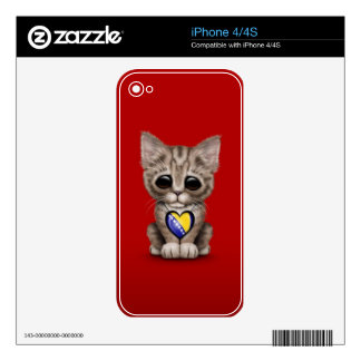 Cute Kitten with Bosnia-Herzegovina Heart, red iPhone 4 Decals
