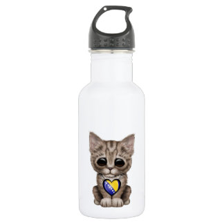Cute Kitten with Bosnia-Herzegovina Heart Water Bottle