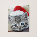 Cute kitten with Christmas hat Puzzle