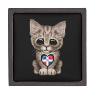 Cute Kitten with Dominican Republic Heart, black Premium Gift Boxes