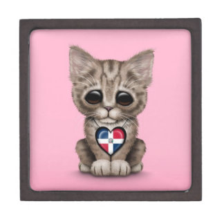 Cute Kitten with Dominican Republic Heart, pink Premium Keepsake Boxes
