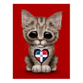 Cute Kitten with Dominican Republic Heart, red Postcard