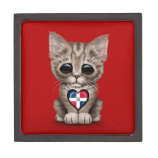 Cute Kitten with Dominican Republic Heart, red Premium Jewelry Box