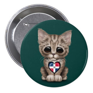 Cute Kitten with Dominican Republic Heart, teal Pinback Button