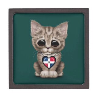 Cute Kitten with Dominican Republic Heart, teal Premium Trinket Boxes