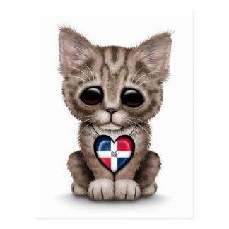 Cute Kitten with Dominican Republic Heart, white Postcard