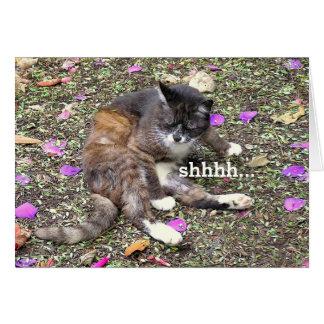 "CUTE KITTEN WITH EYES SHUT/ ""SHHHHH..."" CARD"