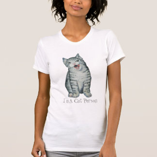 cute kitten with gray black and white fur pet art t-shirt